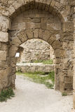Archway in fortifications of Rhodes Royalty Free Stock Image