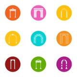 Archway ikony ustawiać, mieszkanie styl Fotografia Stock