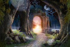 Free Archway In An Enchanted Fairy Garden Landscape Stock Images - 157294484