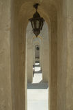 Archway with lighters in luxury arabian desert hotel Royalty Free Stock Images