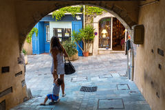 Archway in the medieval Grimaud, South France stock photography