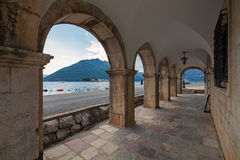 Archway in the old house in Perast town royalty free stock image