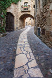 Archway in the old town of Pals. In Girona, Catalonia Royalty Free Stock Photo