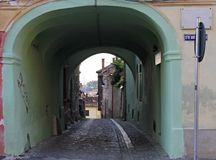 Archway in the old town of Sibiu. Romania Stock Photography