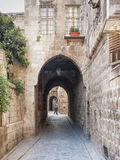 Archway in old town street of aleppo syria Stock Photo