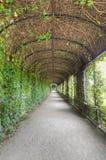 Archway in Privy Garden, Schonbrunn Palace. The Privy Garden, known in German as the Crown Prince Rudolf Garden, is part of the Meidling Kammergärten which lie Royalty Free Stock Images
