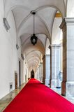 Archway with red capet. Taken in the abbey of meld, lower austria Stock Photography