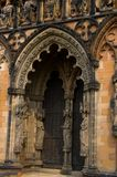 Archway and sculpture. One of the archways,and carvings and sculptures at lichfield cathedral Royalty Free Stock Photo