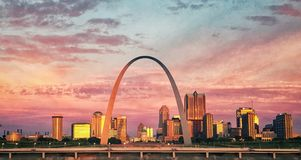 Archway in St.Louis. Archer in St.Louis, MO during sunrise stock image