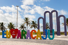Archway to beach Atalaia, Aracaju, Sergipe state, Brazil. ARACAJU, SE/BRAZIL - JUNE 24: Letters I love Aracaju on famous beach Atalaia on June 24, 2016 in Royalty Free Stock Photography