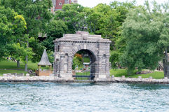 Archway to Boldt Castle, Heart Island, Alexandria Bay, New York. Boldt Castle was a project by George Boldt circa 1900 as a gift for his wife. When Mrs. Boldt Royalty Free Stock Photos