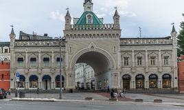 Archway Tretyakovsky Passage in Moscow stock images