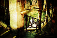 Archway in Venice with grunge texture Stock Images