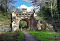 Archway Walk. Peaceful walk leading to archway under old railway bridge Stock Image