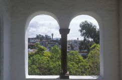 Archways on a hacienda patio, Laguna Beach, CA Royalty Free Stock Images