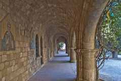Archways at the monastery of filerimos Royalty Free Stock Photos