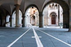Archways View of portico in front of the Palazzo della Ragione, Citta Alta, Bergamo, Italy.  stock image