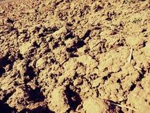 Arcilla polvorienta en campo El campo arado vacío espera la siembra Foto de archivo