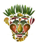 Arcimboldo's style fruit and vegetable mask royalty free stock images