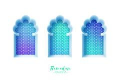 Arco árabe de la ventana en estilo del corte del papel Tarjetas de felicitación de Ramadan Kareem de la papiroflexia Modelo del A ilustración del vector