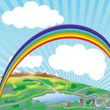 Arco-íris acima da terra. Vetor. Imagens de Stock Royalty Free