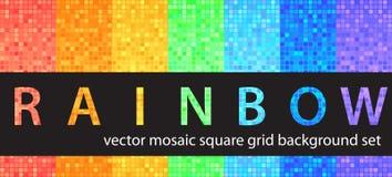 Arco-íris ajustado do teste padrão quadrado Fundos sem emenda da telha do vetor ilustração do vetor