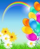 Arco-íris, balões e céu azul Foto de Stock