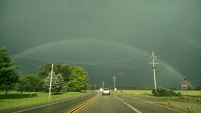 Arco-íris bonito sobre Michigan fotos de stock royalty free