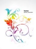 Arco-íris brilhante colorido abstrato floral ilustração royalty free