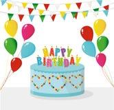 Arco-íris colorido festivo e um bolo grande com velas Feliz aniversario ilustração do vetor