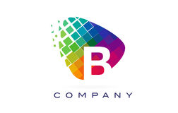 Arco-íris colorido Logo Design da letra B ilustração do vetor