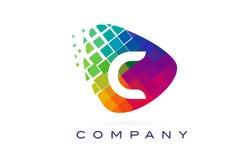Arco-íris colorido Logo Design da letra C ilustração stock