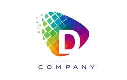 Arco-íris colorido Logo Design da letra D ilustração stock