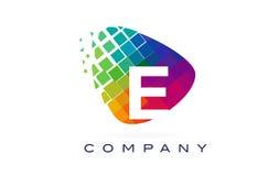 Arco-íris colorido Logo Design da letra E ilustração royalty free