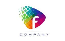 Arco-íris colorido Logo Design da letra F ilustração do vetor