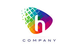 Arco-íris colorido Logo Design da letra H ilustração do vetor