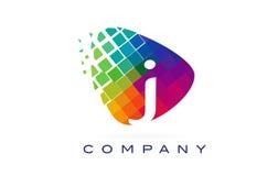 Arco-íris colorido Logo Design da letra J ilustração stock