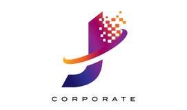 Arco-íris colorido Logo Design da letra J ilustração do vetor