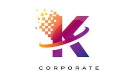 Arco-íris colorido Logo Design da letra K ilustração do vetor