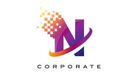 Arco-íris colorido Logo Design da letra N ilustração do vetor