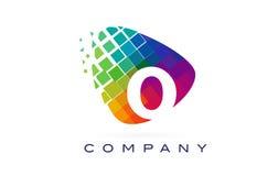 Arco-íris colorido Logo Design da letra O ilustração do vetor