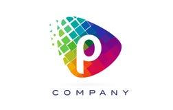 Arco-íris colorido Logo Design da letra P ilustração royalty free