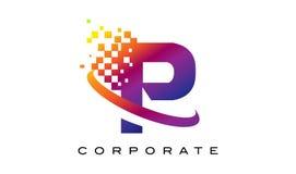 Arco-íris colorido Logo Design da letra P ilustração stock