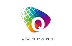Arco-íris colorido Logo Design da letra Q ilustração royalty free
