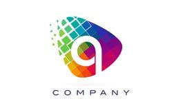 Arco-íris colorido Logo Design da letra Q ilustração stock