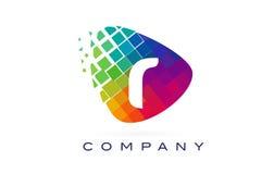 Arco-íris colorido Logo Design da letra R ilustração do vetor