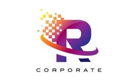 Arco-íris colorido Logo Design da letra R ilustração royalty free