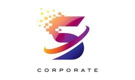 Arco-íris colorido Logo Design da letra S ilustração do vetor