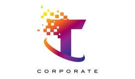 Arco-íris colorido Logo Design da letra T ilustração do vetor