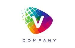 Arco-íris colorido Logo Design da letra V ilustração stock